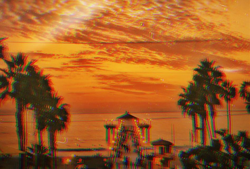 #beach #pier #sunset #ocean #heaven #glitch #photography #picsart