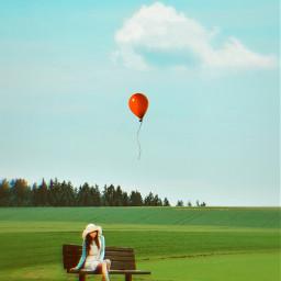 solitude alone sitting sittinggirl waiting balloon freetoedit