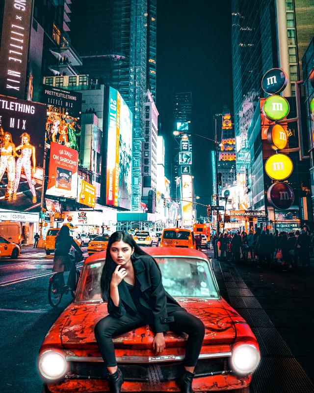 #car #portrait #woman #red #city #street #background #light #myedit #remixit #remixed #edit