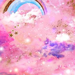 freetoedit glitter sparkle galaxy clouds stars rainbow pink pastel kawaii magical dream cute golld cosmos background overlay wallpaper