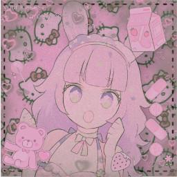 anime cute animegirl heart pink pinkanime pinkanimegirl pinkheart pinktint pinkaesthetic aesthetic aestheticwallpaper bunny pinkbunny pinkbunnygirl pinkbunnyanime kawaii pinkkawaii pinkcutie cleavage freetoedit