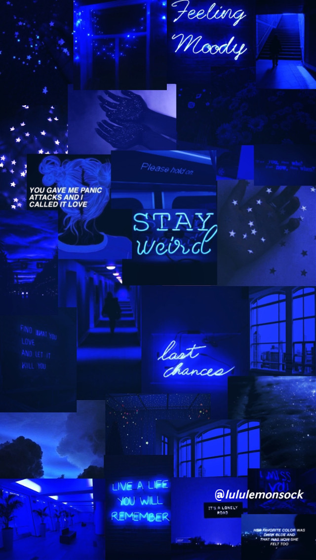 Dark Blue aesthetic collage #darkblue #blue #aesthetic #aestheticcollage #darkblueaesthetic #starrynight #nightsky #love #sad #blueskyaesthetic