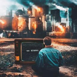 tv fire destruction nosignal television videogames freetoedit rcontv ontv