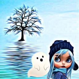 ghost remixed tree water blue girl doll toy hat halloween spooky oilpaintingeffect freetoedit