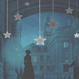 nightsky church fog girl lady woman silhouette 1800s stars blackandwhite grey gray blue hat remixit background freetoedit