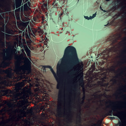 halloweenscream happyhalloween scary creepy ghost forest photomanipulation edited halloween madewithpicsart freetoedit