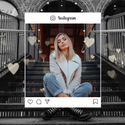 freetoedit девушка рамка сердечки город инстаграм пиксарт girl frame heart city instagram picsart