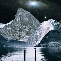 mastershoutout freetoedit unsplash mountains collage stars galaxy lake sea birds