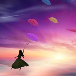 fantasy silhuette windy windyday sunset umbrella freetoedit