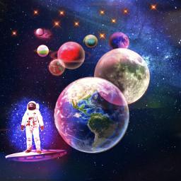 astronaut space planetearth planets colorful shine shiningstars freetoedit
