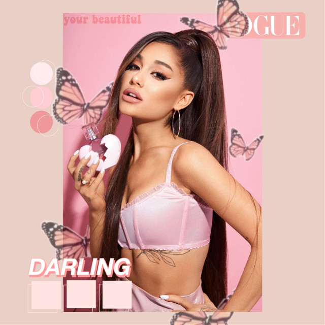 #ariana #grande #arianagrande #thankunext #positions #photoshoot #perfume #pink #voguechallenge #butterfly #yourbeautiful #darling #pantone #freetoedit #replay