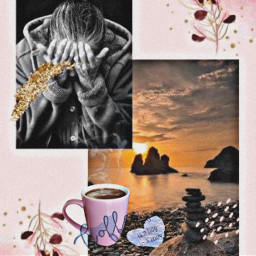 collage stressed cup coffee freetoedit