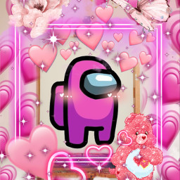 pink heart hearts amongus among us imposter impostor cute pretty beautiful girl flower butterlfy bear carebear peach lightpink pinkamongus sparkle bling glitter pic art freetoedit