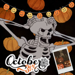 skeleton pumpkin halloweeen spooky spookyszn picsart edit picsartedit freetoedit srcpumpkins&gourds pumpkins&gourds