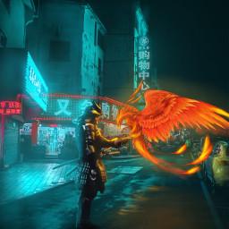 surreal surrealart japan samurai phoenix lighteffects warrior mythicalcreatures night