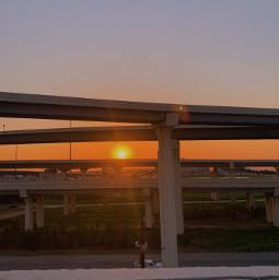 highway road sunset nature freetoedit