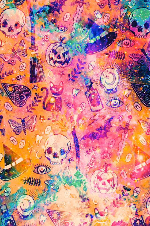 #freetoedit @mpink88 #glitter #sparkle #galaxy #halloween #witches #stars #moon #butterflies #skulls #pattern #holidays #spooky #aesthetic #background #overlay #wallpaper