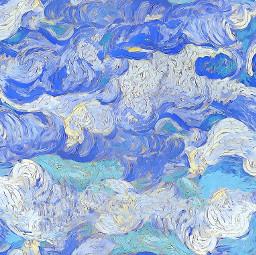 freetoedit sky aquarelle watercolor cartoon art clouds painting vangogh vangoghinspired