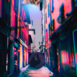 mastershoutout alley street photomanipulation cybr2 filters gkitch pink cat peeking mansitting myedit freetoedit