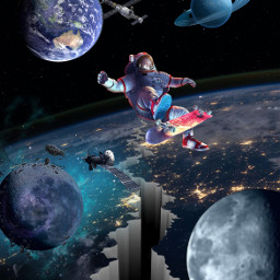freetoedit space espace planet skateboard cosmonaut cosmos surrealism surreal saturn earth satellite hole