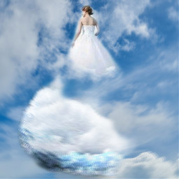 weddingdress clouds sky freetoedit