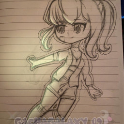 chibi drawing lighting girl cute green magic paper pencil pencilart pencilsketch