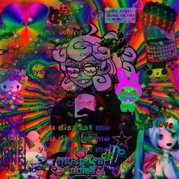 helltaker glitchcore rainbow rainbowcore webcore scenecore scene glitch edgy emo freetoedit