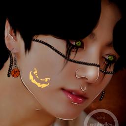 jungkook kook kookie bts kpop halloween spookyseason jeonjungkook jeon jeongguk jeonjeongguk cooky bt21 trickortreat freetoedit