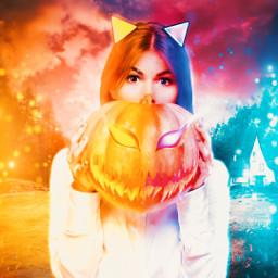 freetoedit halloween creepy girl pumpkin