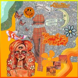 collage artbymegzzzz art fashion style orange blue sparkle glamour beauty outfit hippie retro freetoedit