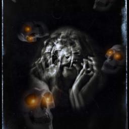 halloweenscream scary spooky creepy picsart skeletons woman screaming glowingeyes blackbackground overlay blue frame heypicsart makeawesome freetoedit myedit