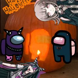 happyhalloween danganronpa danganronpa2 chiakinanami ibukimioda amongus halloween pumpkin pumpkincarving 2020 allhallowseve carving freetoedit