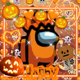 halloween spookyseason happyhalloween orange amongus orangeamongus pumpkin among us jackolantern halloweenamongus asethetic pretty spooky scary creepy bling skeleton heart ghost emoji edit art pic season freetoedit fchappyhalloween2020 happyhalloween2020