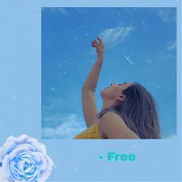 freetoedit blue aesthetic girl vhs