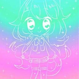 freetoedit glitter sparkle galaxy gachalife gacha gachaedit gachgirl outline pastel kawaii art cute stars background overlay wallpaper