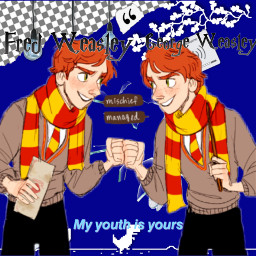 twins redheads weasley fredweasley goergeweasley fredandgeorgeweasley blue aesthetic ripfredweasly neverforgotten freetoedit
