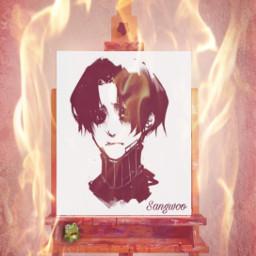 sangwoo yoombum stalkingkilling fuego pintura@picsart retrato manhwa freetoedit pintura ircinnerartist innerartist