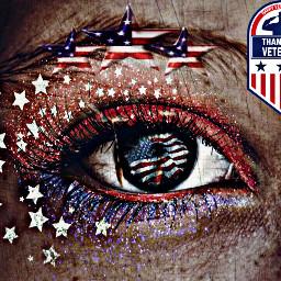 veteransday thankyou thankyouforyourservice eye art redwhiteandblue stars glitter freetoedit