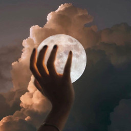 freetoedit moon hand spacelover clouds sky