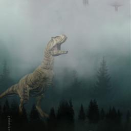 jurassicpark jurassicworld dino dinosaur mist clevergirl bush park ufo alien aliens fog foggyday bird clouds flying roar little trees world freetoedit
