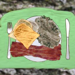 food drink eat meal challenge toast mashedpotatoes mashed potatoes bacon fork knife freetoedit ircmyfavoritetoast myfavoritetoast