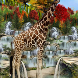 @asweetsmile1 background giraffe waterfalls blendedimages blend creative creativeart zoo simple