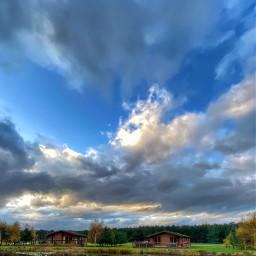 freetoedit lake lakeview sky blueskywithclouds clouds lodges remixit enjoy