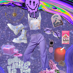 purple aesthetic smile outfit fashion style angel dreamy colorful trippy collage stylish purpleaesthetic retro lavender voilet pink blue glitter glamour sparkle background freetoedit