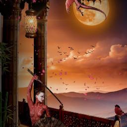freetoedit sunset chinesegirl birds dragon clouds nuages oiseaux lantern lampe femme flowers epee sun soleil bamboo surrealism imagination