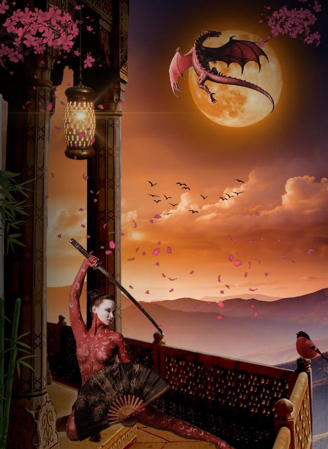 #freetoedit #sunset #chinesegirl #birds #dragon #clouds #nuages #oiseaux #lantern #lampe #femme #flowers #epee #sun #soleil #bamboo #surrealism #imagination