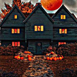 moon house hauntedhouse pumpkins fall salemwitchhouse salem witches haunting trees leaves sidewalk windows orange black clouds smoke chimney remixit background autumn autumncolors freetoedit