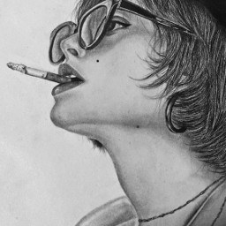 woman smoking parisiangirl frenchgirl aesthetic drawing art france sketch