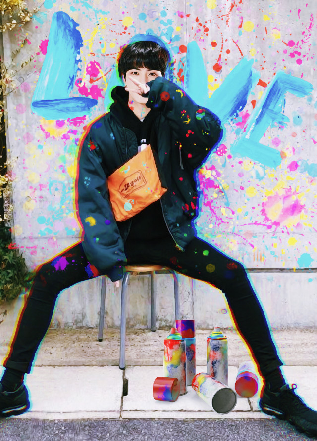 BTS Jin Spray Paint Rainbow Aesthetic ❤️🎨  Follow My Instagram @/official_joonieedits 🎨  Tags: #bts #art #jin #picsart #graffiti #kpop