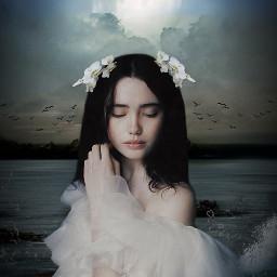 freetoedit woman fullmoon ocean beautyofnature beautyallaround madewithpicsart myimagination myedit